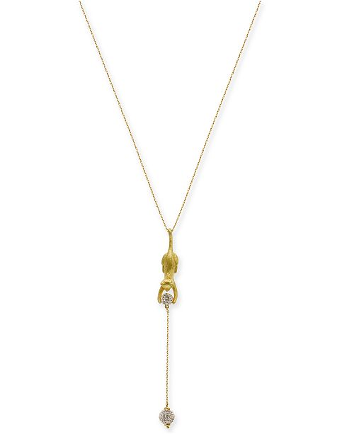 "kate spade new york Gold-Tone Pavé Ball & Leopard 17"" Lariat Necklace"