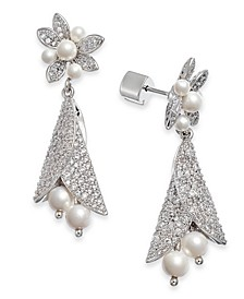 Silver-Tone Pavé & Imitation Pearl Flower Drop Earrings