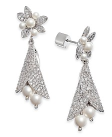 Kate Spade New York Silver-Tone Pavé & Imitation Pearl Flower Drop Earrings