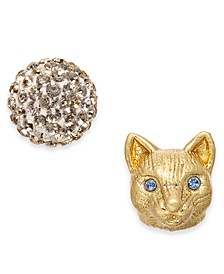 Gold-Tone Pavé Ball & Leopard-Head Mismatch Stud Earrings