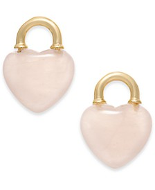 Gold-Tone Stone Heart Stud Earrings