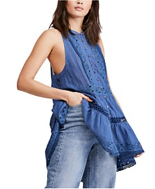 Free People Adelaide Eyelet-Trim Button-Front Tunic
