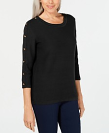Karen Scott 3/4-Sleeve Sweater, Created for Macy's