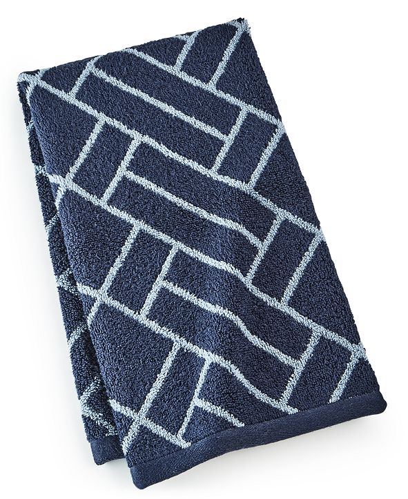 """Hotel Collection Block Geo Cotton 16"""" x 30"""" Hand Towel, Created for Macy's"""