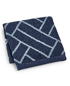 "Hotel Collection Block Geo Cotton 13"" x 13"" Wash Towel, Created for Macy's"