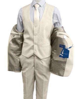 L Star Boy/'s Khaki Full Suit Set Jacket Vest Tie Shirt and Pants