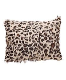 "Goat Fur Bolster Spotted Leopard 20"" x 12"""