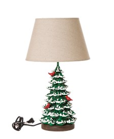 Glitzhome Christmas Tree Table Lamp with Burlap Shade