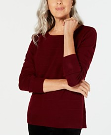 Karen Scott Textured-Stripe Sweater, Created for Macy's