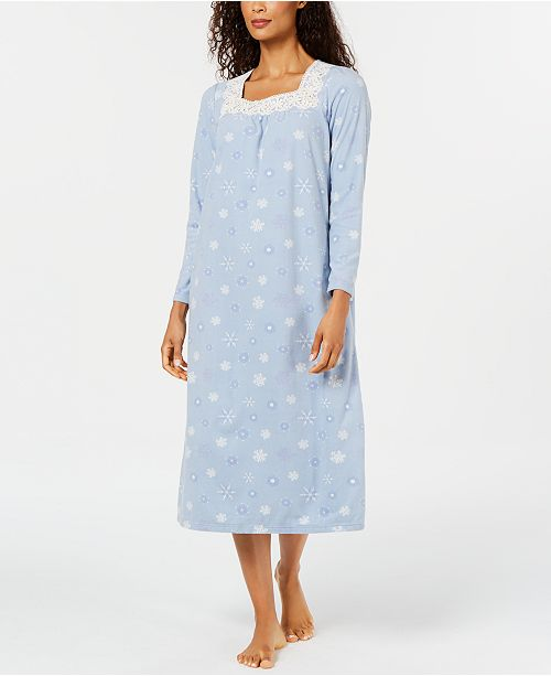 Charter Club Women's Petite Printed Fleece Nightgown, Created for Macy's