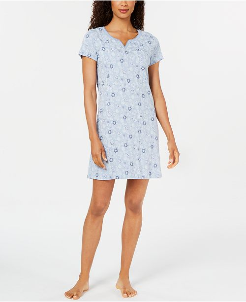 Charter Club Women's Cotton Knit Printed Sleepshirt, Created for Macy's
