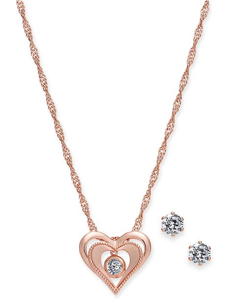"Charter Club Rose Gold-Tone Crystal Dancing Heart 18"" Pendant Necklace & Stud Earrings Set, Created for Macy's"