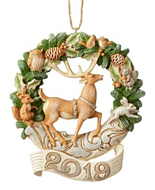 Jim Shore White Woodland Dated 2019 Deer Ornament