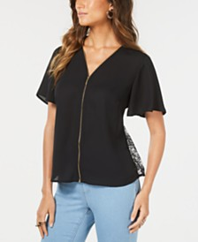 Thalia Sodi Lace-Inset Zip-Front Blouse, Created for Macy's