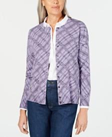 Karen Scott Plaid-Print Cardigan, Created for Macy's