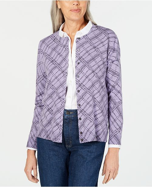 Karen Scott Plaid-Print Cardigan, Created for Macy's