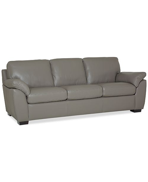Lothan 87 Leather Sofa with 3 Cushions, Created for Macy\'s