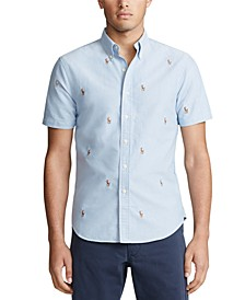 Men's Allover Pony Short Sleeve Oxford Shirt
