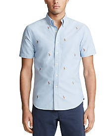 Polo Ralph Lauren Men's Allover Pony Short Sleeve Oxford Shirt