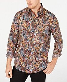 Men's Stretch Cambridge Paisley Print Shirt, Created for Macy's