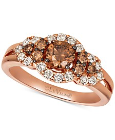 Le Vian® Chocolate Diamonds® (5/8 ct. t.w.) & Nude Diamonds™ (3/8 ct. t.w) Statement Ring in 14k Rose Gold