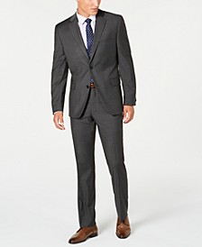 Men's Slim-Fit Performance Stretch Gray Mini Check Suit Separates, Created for Macy's
