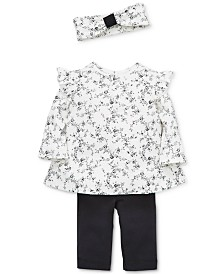 Little Me Baby Girls 3-Pc. Cotton Floral-Print Headband, Top & Pants Set