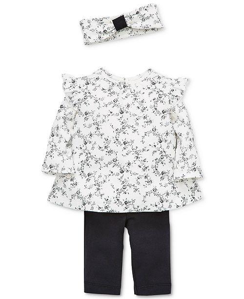 Little Me Baby Girls 3-Pc. Cotton Floral-Print Headband, Top & Pants Set