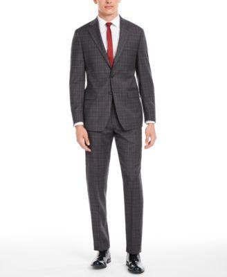 Men's X Slim-Fit Stretch Gray/Burgundy Plaid Suit Separate Pants