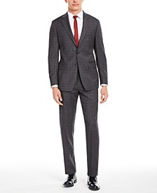 Men's X Slim-Fit Stretch Gray/Burgundy Plaid Suit Separates