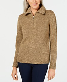 Karen Scott Wing-Collar Zip-Neck Sweater, Created for Macy's