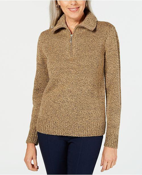 Karen Scott Wing-Collar Zip-Neck Sweater, Created for Macy's