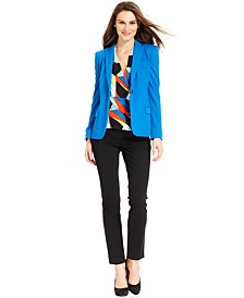 Three-Quarter-Sleeve Printed Top, Blazer & Skinny Ankle Pants