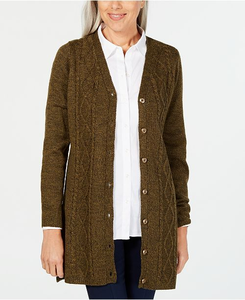 Karen Scott Petite Button-Front Duster Cardigan, Created for Macy's
