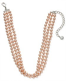 """Gold-Tone Imitation Pearl Triple-Row Choker Necklace, 16"""" + 2"""" extender, Created for Macy's"""