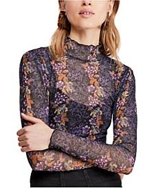 Amber Floral-Print Sheer Top