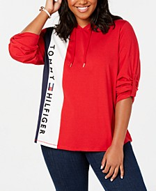 Plus Size Colorblocked Logo Hoodie, Created for Macy's