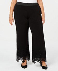 Alfani Plus Size Lace-Hem Palazzo Pants, Created for Macy's