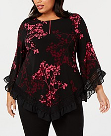 Plus Size Asymmetrical Ruffle-Trim Tunic, Created for Macy's