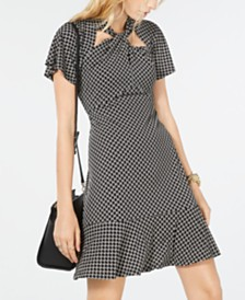 Michael Michael Kors Circle Logo Twist-Neck Dress, Regular & Petite Sizes