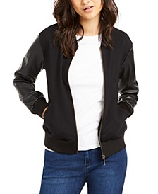 Faux-Leather-Sleeve Bomber Jacket