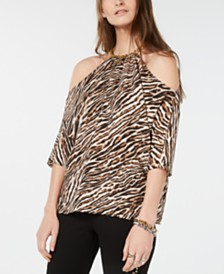 Michael Michael Kors Leopard Print Chain-Link Cold-Shoulder Top, Regular & Petite Sizes