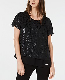 Leopard Embossed Split-Back Top, Regular & Petite Sizes