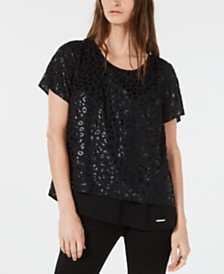 Michael Michael Kors Leopard Embossed Split-Back Top, Regular & Petite Sizes