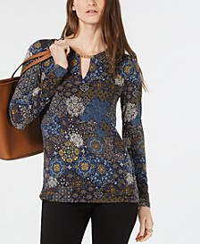 Medallion-Print Keyhole Top, Regular & Petite Sizes