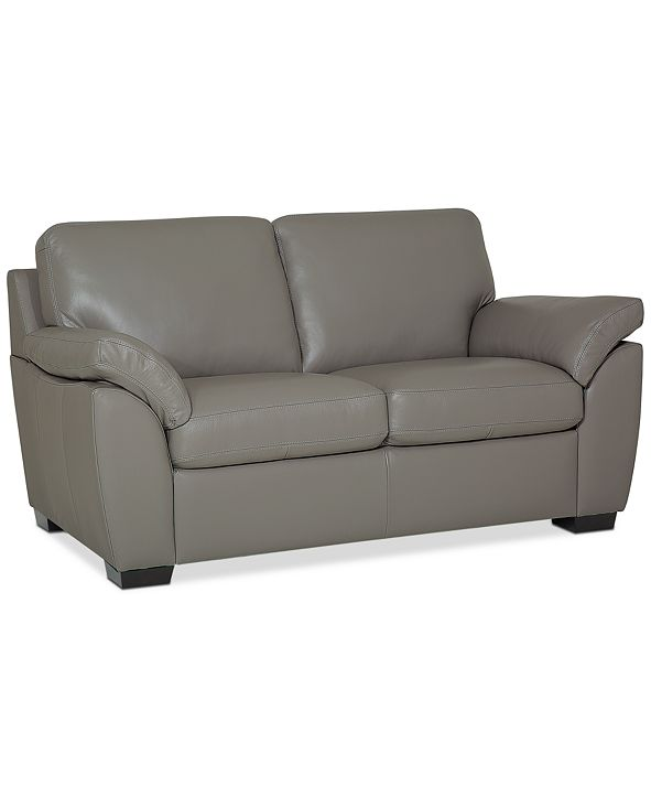 "Furniture Lothan 64"" Leather Loveseat, Created for Macy's"