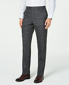 Men's Classic-Fit UltraFlex Stretch Gray/Purple Check Suit Separate Pants