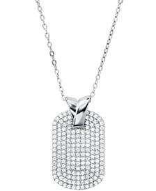 Michael Kors Sterling Silver Custom Kors Pave Pendant Necklace