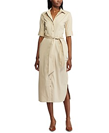 Silky-Stretch Belted Shirtdress