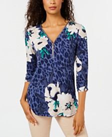 JM Collection Mixed-Print Zippered-Neck Top, Created for Macy's